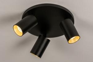 spot 74323 design landelijk rustiek modern eigentijds klassiek aluminium metaal zwart mat goud rond