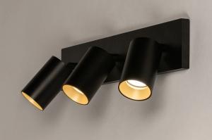 spot 74324 design landelijk rustiek modern eigentijds klassiek aluminium metaal zwart mat goud langwerpig