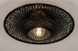 plafondlamp 74329 landelijk rustiek modern retro eigentijds klassiek riet zwart mat rond