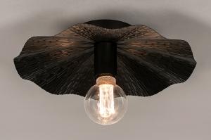 plafondlamp 74330 landelijk rustiek modern eigentijds klassiek art deco metaal zwart mat rond