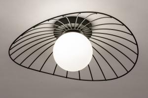 plafondlamp 74332 modern retro glas wit opaalglas metaal zwart mat wit mat rond