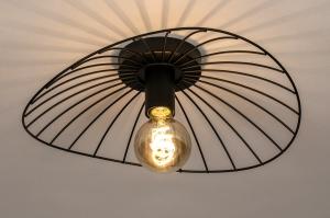 plafondlamp 74333 modern retro metaal zwart mat rond