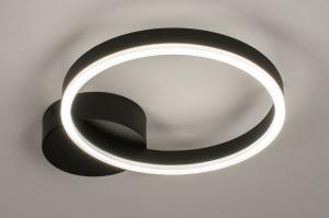 plafondlamp 74338 design modern kunststof metaal zwart mat wit mat rond