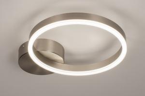 plafondlamp 74339 design modern staal rvs kunststof metaal wit mat staalgrijs rond