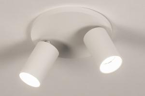 plafondlamp 74342 design modern aluminium metaal wit mat rond