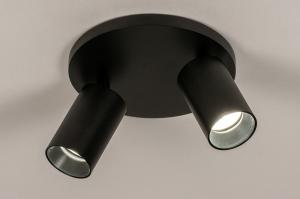 plafondlamp 74343 industrie look modern aluminium metaal zwart mat rond