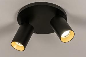 plafondlamp 74344 modern eigentijds klassiek aluminium metaal zwart mat goud rond