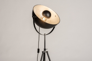 vloerlamp 74360 industrie look modern metaal zwart mat zilvergrijs rond