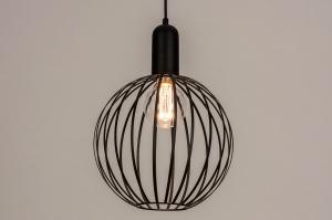 hanglamp 74365 modern eigentijds klassiek art deco metaal zwart mat rond
