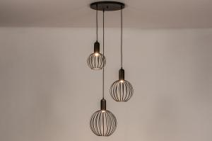hanglamp 74366 modern eigentijds klassiek art deco metaal zwart mat rond