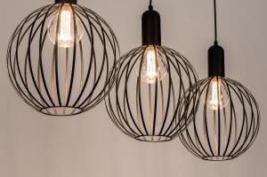 hanglamp 74368 modern eigentijds klassiek art deco metaal zwart mat langwerpig