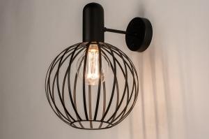 wandlamp 74370 industrie look landelijk rustiek modern metaal zwart mat rond