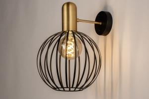 wandlamp 74371 landelijk rustiek modern eigentijds klassiek metaal zwart mat goud messing rond
