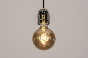 hanglamp 74376 landelijk rustiek modern retro eigentijds klassiek glas zwart grijs rond