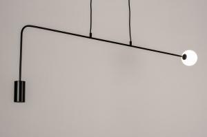 hanglamp 74378 industrie look design modern glas wit opaalglas metaal zwart mat langwerpig