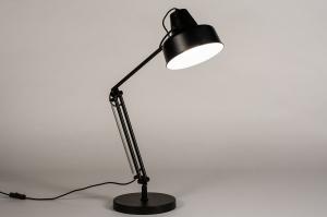 tafellamp 74384 landelijk rustiek retro metaal zwart mat wit