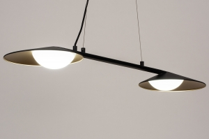hanglamp 74387 design modern glas wit opaalglas metaal zwart mat goud mat messing langwerpig