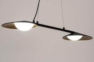hanglamp 74387 design modern glas wit opaalglas metaal zwart mat goud messing langwerpig