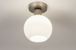 plafondlamp 74392 modern retro glas wit opaalglas staal rvs wit mat staalgrijs rond
