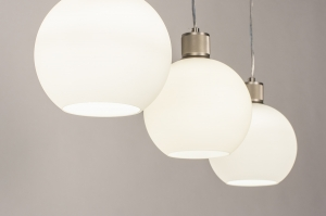 hanglamp 74393 modern retro glas wit opaalglas staal rvs wit mat staalgrijs rond langwerpig