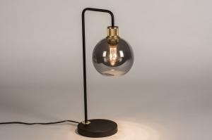 tafellamp 74394 modern retro eigentijds klassiek art deco glas messing metaal zwart mat grijs messing rond
