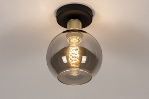 plafondlamp 74395 modern retro eigentijds klassiek art deco glas messing metaal zwart mat grijs messing rond