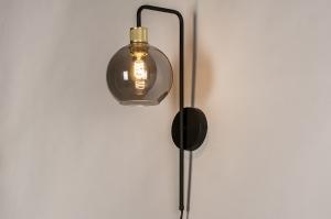 wandlamp 74397 modern retro eigentijds klassiek art deco glas messing metaal zwart mat grijs messing rond