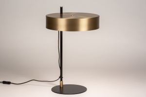 tafellamp 74400 design landelijk rustiek modern eigentijds klassiek messing geschuurd metaal zwart mat messing