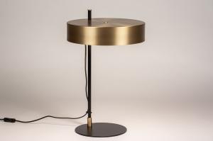 tafellamp 74400 design modern eigentijds klassiek art deco messing geschuurd metaal zwart mat mat messing rond