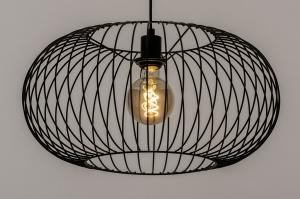 hanglamp 74413 modern retro metaal zwart mat rond
