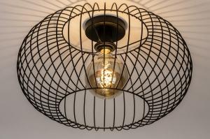 plafondlamp 74414 modern retro metaal zwart mat rond