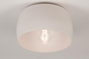 plafondlamp 74417 landelijk rustiek modern klassiek eigentijds klassiek metaal grijs roze rond