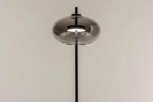 vloerlamp 74421 modern retro eigentijds klassiek glas metaal zwart mat grijs rond