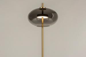 vloerlamp 74422 modern retro eigentijds klassiek art deco glas staal rvs messing geschuurd metaal grijs goud messing rond