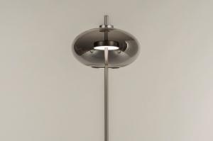vloerlamp 74423 modern retro eigentijds klassiek glas staal rvs metaal grijs staalgrijs rond
