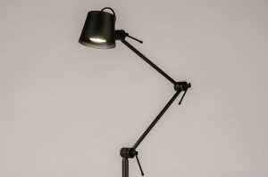 vloerlamp 74427 industrie look modern metaal zwart mat rond