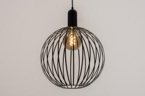 hanglamp 74430 landelijk rustiek modern eigentijds klassiek metaal zwart mat rond