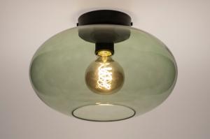 plafondlamp 74441 modern retro eigentijds klassiek art deco glas metaal zwart mat groen rond