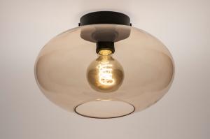 plafondlamp 74442 modern retro eigentijds klassiek art deco glas metaal zwart mat geel rond