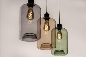 hanglamp 74443 modern retro eigentijds klassiek glas zwart mat grijs groen geel langwerpig