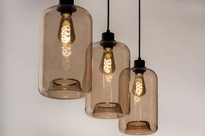 hanglamp 74444 landelijk rustiek modern retro eigentijds klassiek glas zwart mat geel langwerpig