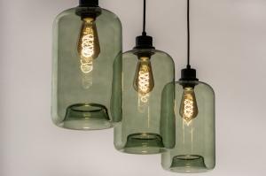 hanglamp 74445 industrie look landelijk rustiek modern retro eigentijds klassiek glas zwart mat groen langwerpig