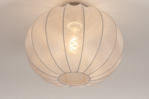 plafondlamp 74454 landelijk rustiek modern retro eigentijds klassiek stof grijs rond