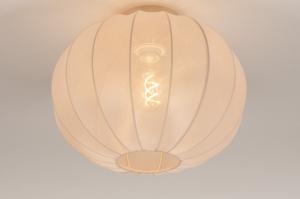 plafondlamp 74455 landelijk rustiek modern retro eigentijds klassiek stof beige creme rond