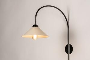 wandlamp 74456 landelijk rustiek modern retro metaal zwart mat beige rond langwerpig
