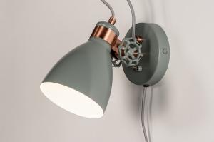 wandlamp 74460 landelijk rustiek modern retro metaal grijs roodkoper rond