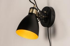 wandlamp 74461 industrie look landelijk rustiek modern retro metaal zwart mat goud rond