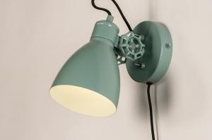 wandlamp 74466 landelijk rustiek modern retro metaal groen rond