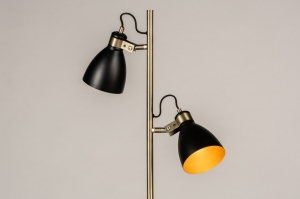 vloerlamp 74468 modern retro eigentijds klassiek messing geschuurd metaal zwart mat goud messing rond