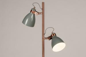 vloerlamp 74469 landelijk rustiek modern retro metaal grijs roodkoper rond